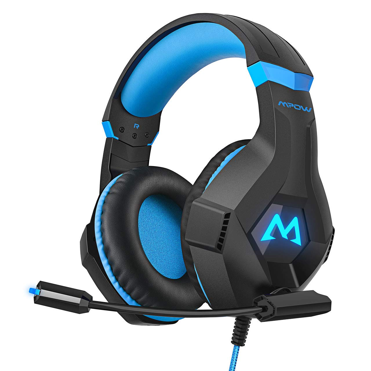 Mpow EG9 Gaming Headset,3D Stereo Surround Sound, Soft Imitation Protein Memory Earmuff, Gaming Headphones with Noise Cancelling Mic Volume Control, RGB Light for PC PS4 Xbox One Nintendo Switch