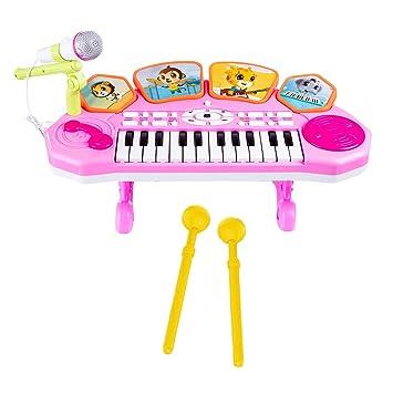 Foxom Piano Infantil, 3 en 1 Teclas Electrico Tambor Niño Teclados ...