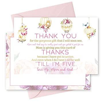 Amazon Com 15 Fancy Floral Thank You Cards With Pink Envelopes