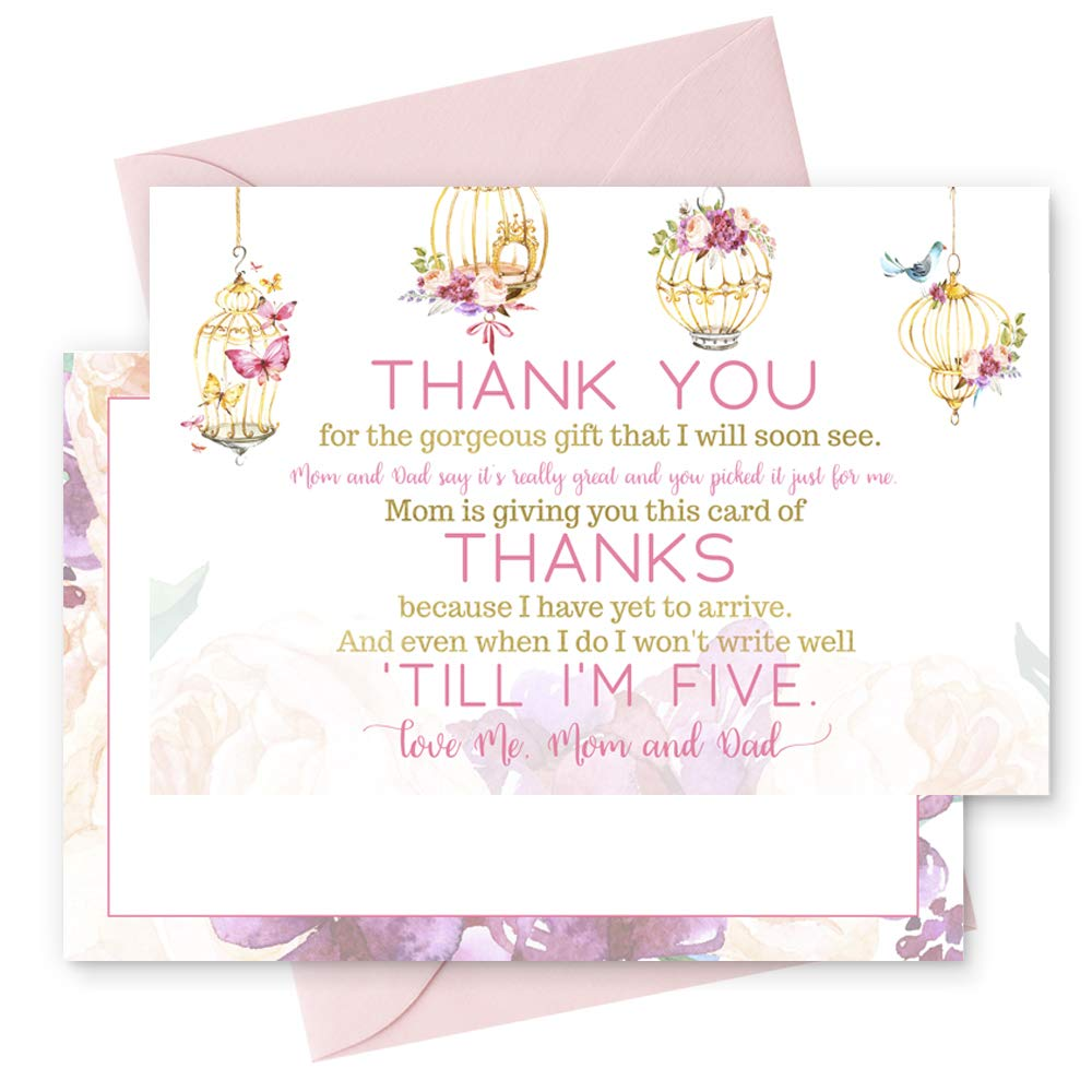 15 Fancy Floral Thank You Cards with Pink Envelopes Stationery for Girls Baby Shower Birds and Flowers