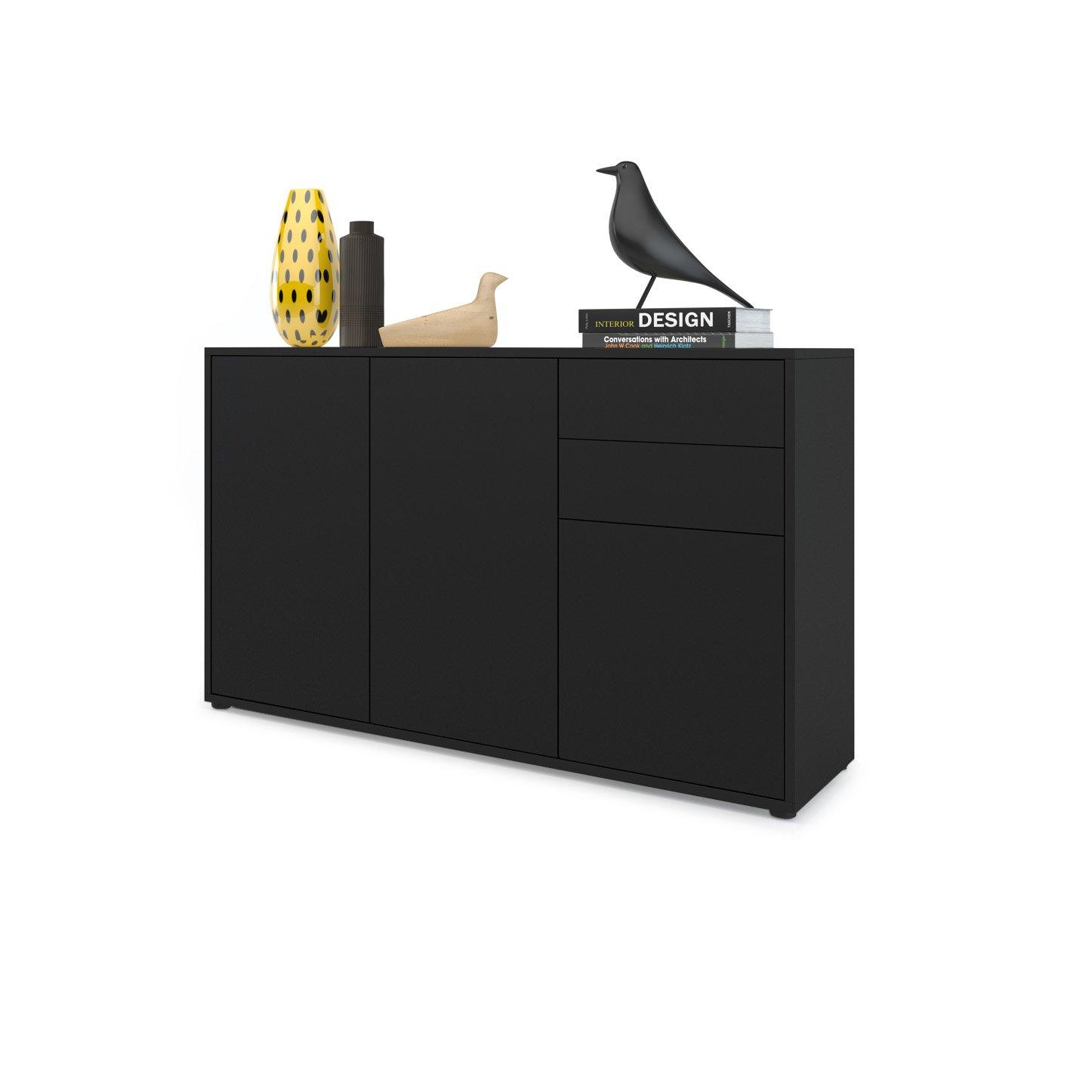 Commode Buffet Ben V3 - Corps en Noir mat - Façades en Noir mat