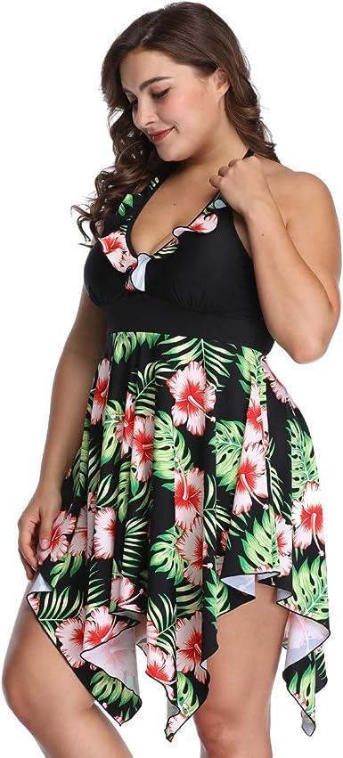 Plus Size Swimsuit 2-PC Halter Swimdress Tropical Floral Print