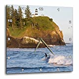 3dRose Wa, Cape Disappointment Lighthouse, Surfing – Us48 Bja0192 – Jaynes Gallery – Wall Clock, 10 by 10-Inch (dpp_95145_1)