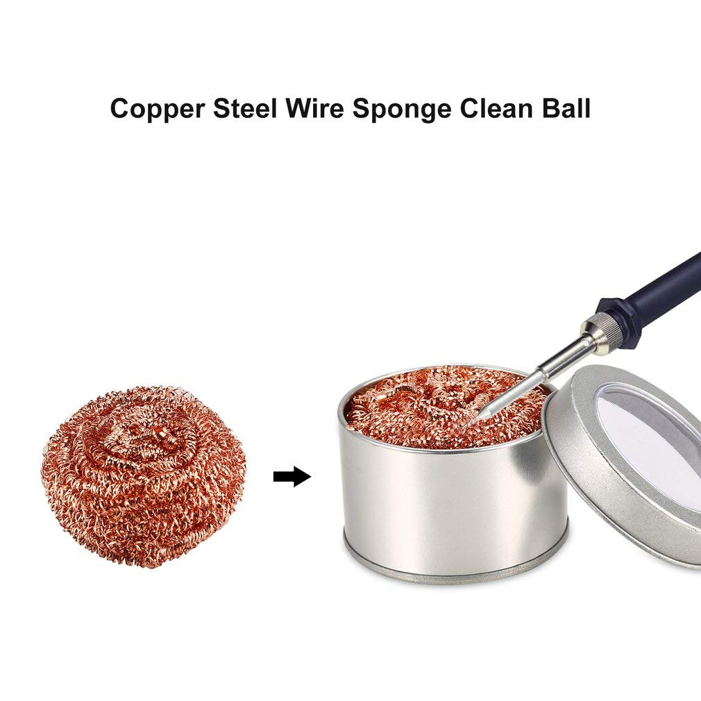 Leoboone Desoldering Soldering Iron Mesh Filter Cleaning Nozzle Tip Copper Wire Ball Clean Ball Cleaning Ball Steel Wire Sponge