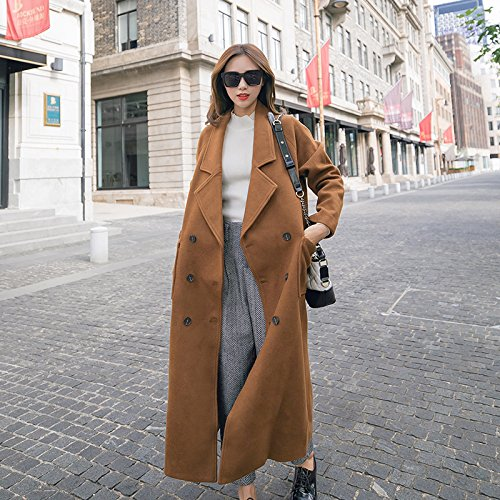 And caramel Cotton Jacket Woolen Cocoon Wool Long Loose Coat Autumn Women'S Thin Loose Colour Camel Section Of Style Knee Xuanku Winter 5BHwq