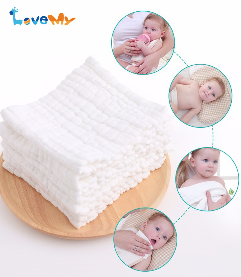Baby Muslin Washcloths - Reusable Cotton Baby Wipes,Soft and Absorbent,Newborn Cotton Gauze Towels for Baby Sensitive Skin - Muslin Warm Baby Bath Towels for Shower Gift,6-Pack 13x13 inches by LOVE MY (Image #2)