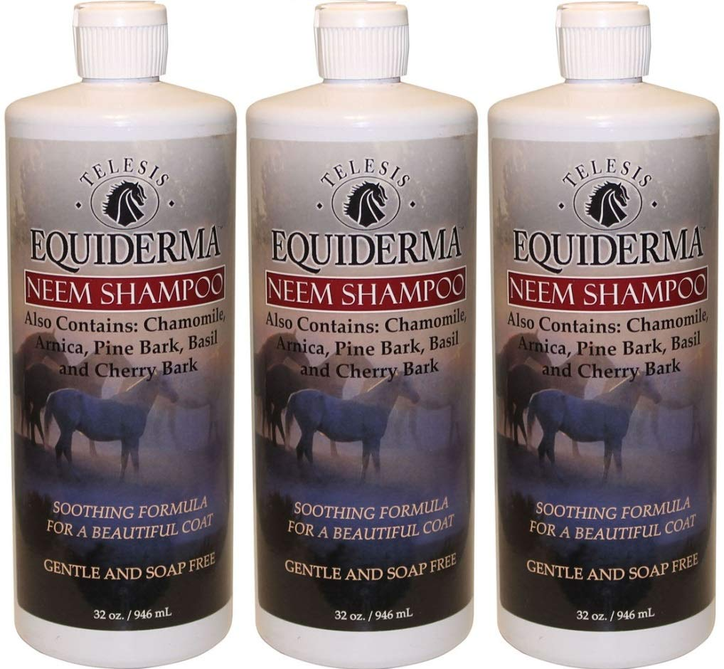 Equiderma Neem Shampoo for Horses, 32 Ounces Per Bottle (3 Pack / 32-Ounces Each)