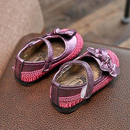 OverDose Baby Mädchen Bogen Kind beiläufige Singel Partei Prinzessin Schuhe Crib Lauflernschuhe Turnschuhe A-Purple
