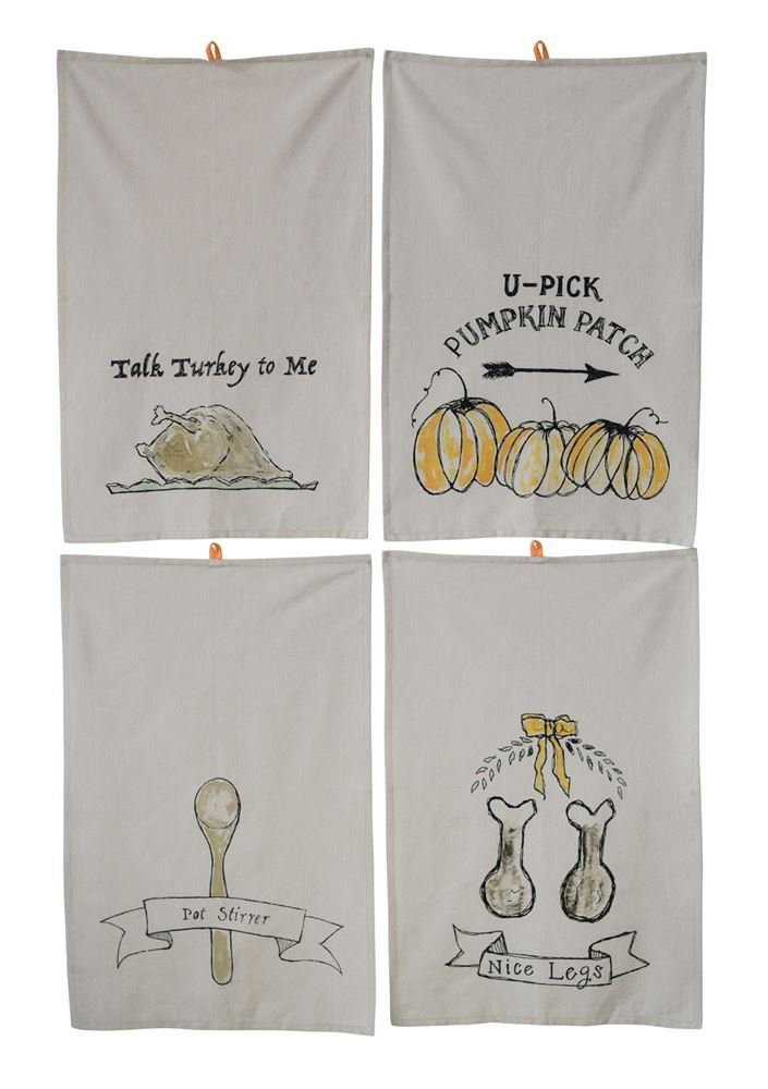 Heart of America 4 Assorted Styles Thanksgiving Sayings on Cotton Tea Towels - 12 Pieces