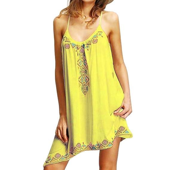 OHQ_Vestido para Mujer Vestido Estampado Sin Mangas Vestido Corto Boho Party Verano Beach Mono Bohemio Camisas