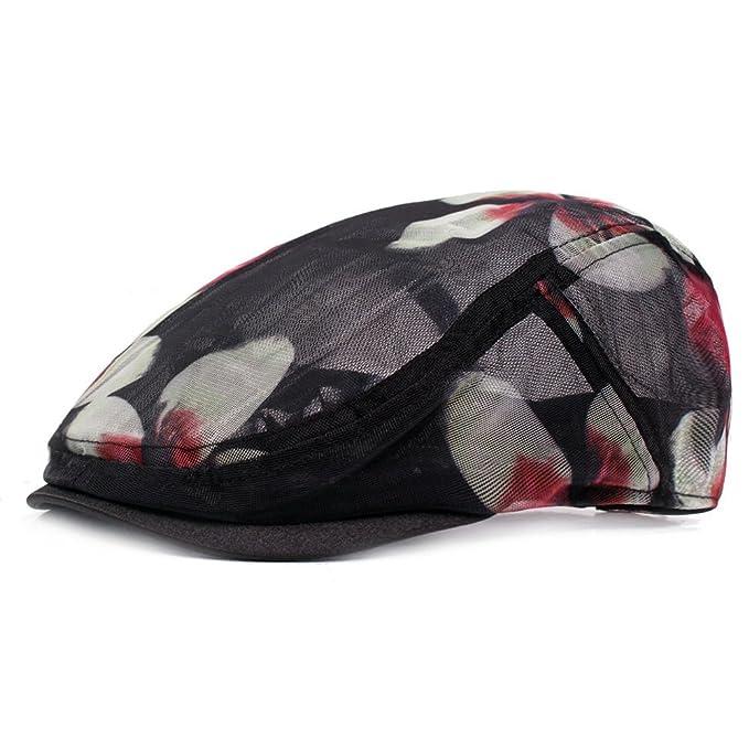 d8cf2b61 ZLSLZ Womens Ladies Summer Mesh Floral Embroidery Ivy Newsboy Cabbie Gatsby  Golf Sun Hat Cap Black