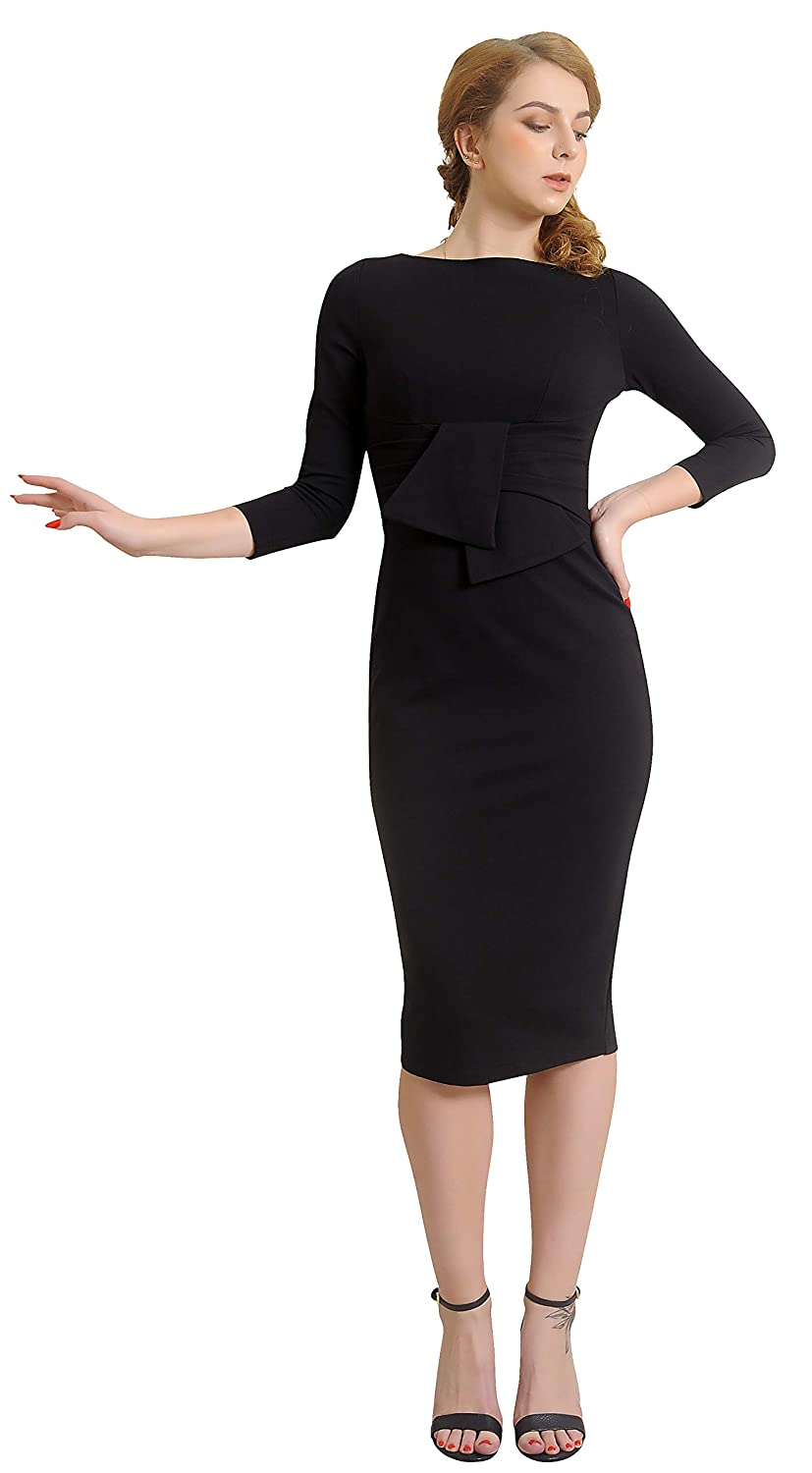 1950s Pencil Dresses & Wiggle Dress Styles Marycrafts Womens Elegant Lady Vintage Evening Wiggle Midi Dress $22.99 AT vintagedancer.com