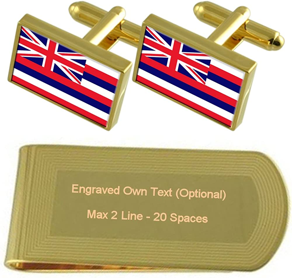 Hawaii Flag Gold-tone Cufflinks Money Clip Engraved Gift Set