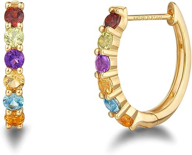 18K Yellow Gold Filled 1.3/'/' Heart Ruby Amethyst Topaz Zircon Hoop Earrings