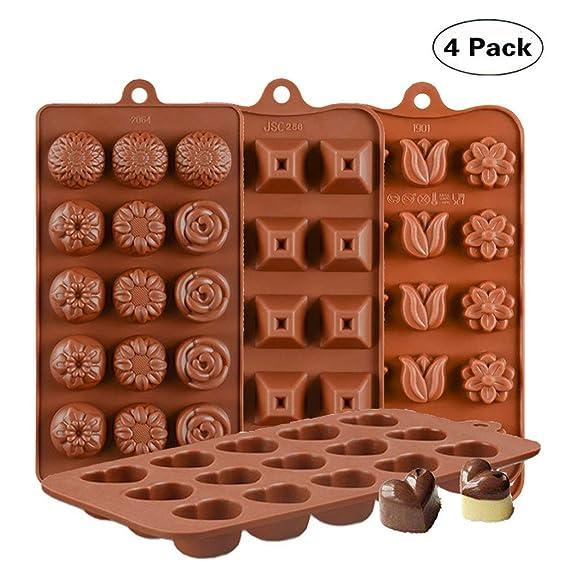 KBstore 4 Stück Silikon Schokoladenform Pralinenform - Herz Form und Blumen Pyramide Form Silikonform für Schokoladen - Silik