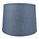 Urbanest French Drum Burlap Lampshade, 14-inch by 16-inch by 11-inch, Denim Blue