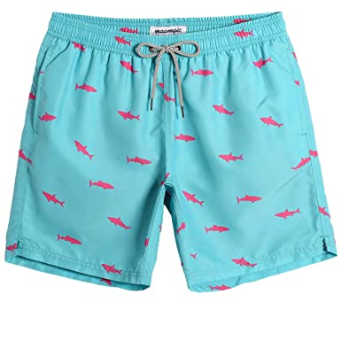 84b4afa36a891 MaaMgic Mens Beach Wear Shark Quick Dry Surfing Short Swim Trunks Swim Suit  with Mesh Lining
