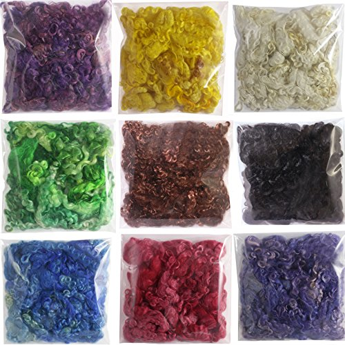 Living Dreams Real Mohair Wool Fiber Locks, Hand Dyed for Knitting, Felting, Spinning, Paper Craft, Doll Hair and Embellishments. 9 Ounce, Includes 9 Colors