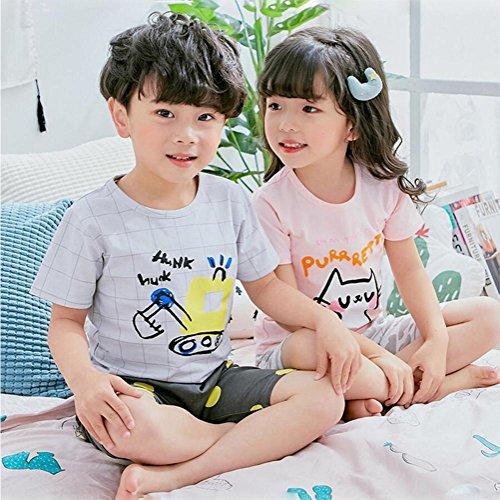 1-9 ans Garçons Filles Pyjamas Cartoon manches courtes en coton T-shirt Top et Shorts Tenues d'été pour enfants , grey , 110cm