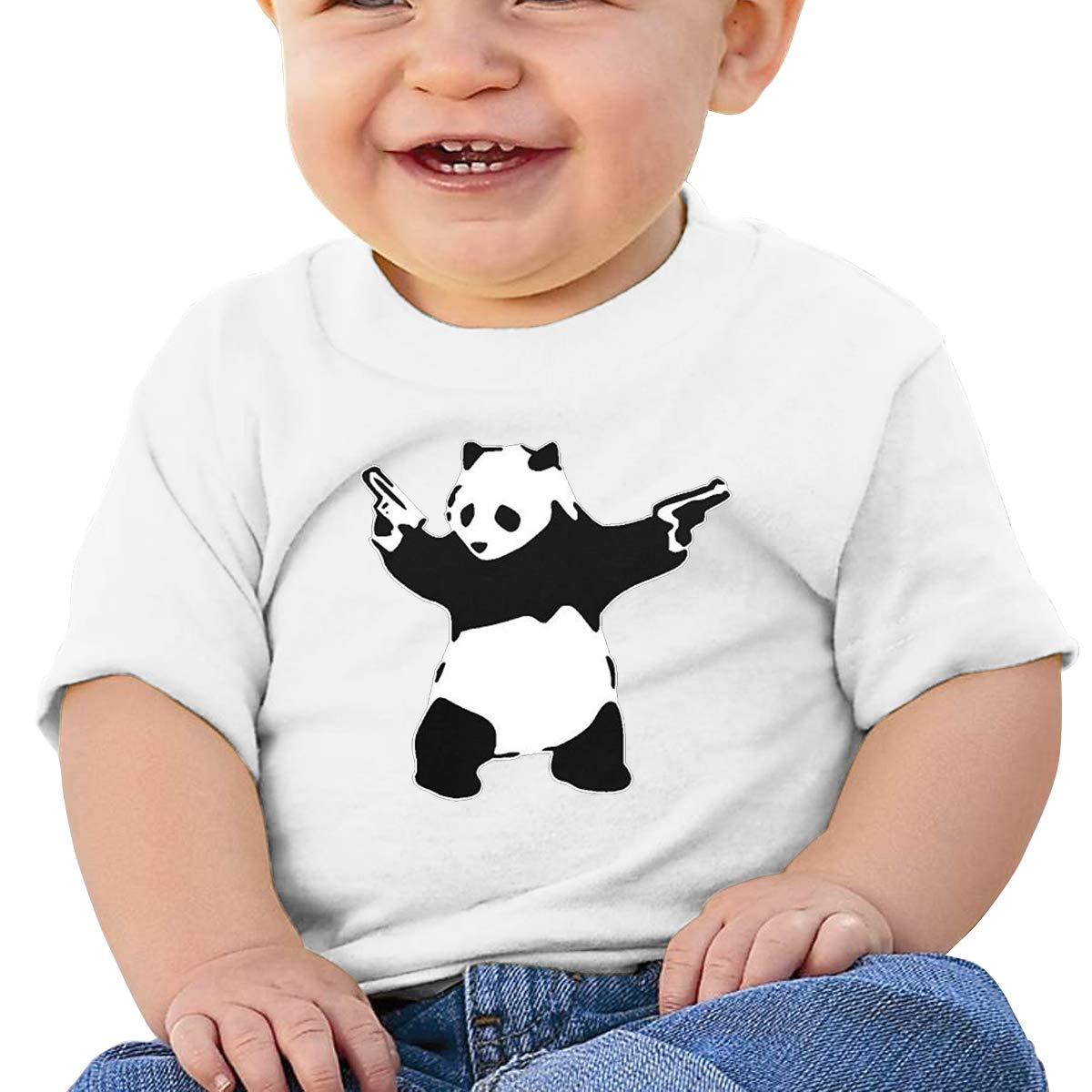 VAIJIAMAOYI 6-24 Month Baby T-Shirt European and American Banksy Panda Guns Baby Cute Infant 6-24 Month Cotton T-Shirt White