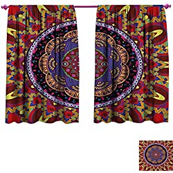 homefeel Mandala Waterproof Window Curtain Vintage Style Wedding Invitation Card with Mandala Motif Flower Illustration Patterned Drape for Glass Door W84 x L72 Maroon and Red