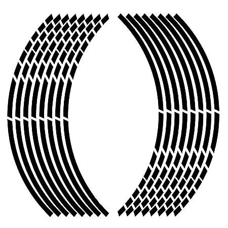 Meiyiu 1718 16 Piezas de Pegatinas de neum/áticos de Ruedas de Coche de Motocicleta Cinta de Borde Reflectante Moto calcoman/ías para autom/óviles Negro Reflectante