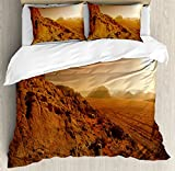 Galaxy Duvet Cover Set by Ambesonne, Landscape from the Movie Fantastic Fictional Galaxy War Pattern Sunset Mountains, 3 Piece Bedding Set with Pillow Shams, King Size, Brown Yellow