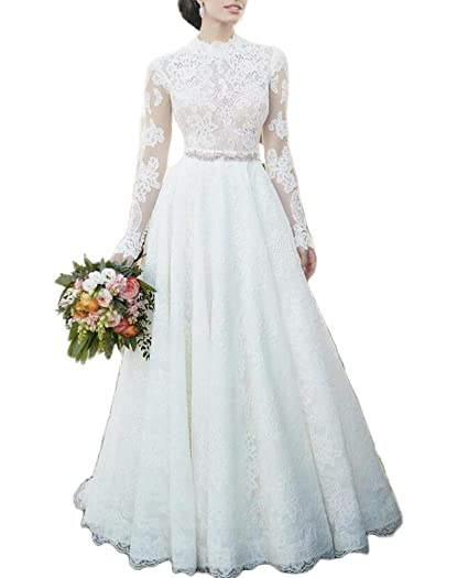 53825d18adf7 QiJunGe 2019 High Neck Lace Wedding Dress Long Sleeve A Line Garden Bride  Gown at Amazon Women's Clothing store: