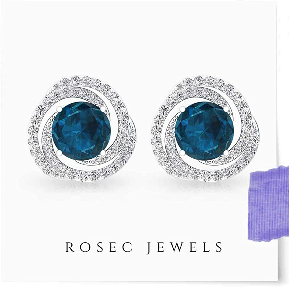1 Ct London Blue Topaz Halo Design Stud Earrings Gift For Her Bridesmaid Bridal Wedding Jewelry Fashion 14Kt Yellow Gold Rose Gold Silver