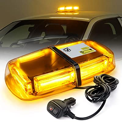 Xprite 12 Inch Amber COB LED Emergency Strobe Lights Mini Bar w/Magnetic Mount 60W Flashing Warning Caution Beacon Light for Law Enforcement Vehicles Trucks Postal Snow Plow Rooftop Safety: Automotive
