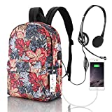 Laptop Backpack, Winblo Travel Laptop Backpack for Women Girls with USB Charging Port & Headphone Interface School Bookbag Water Resistant College Backpack Fits 15 15.6 Inch Laptop & Notebook