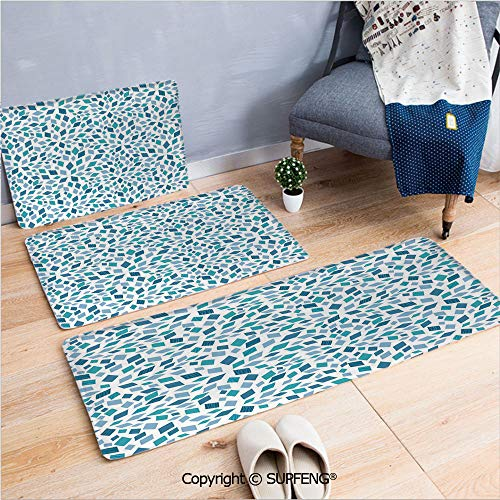 FashSam Kitchen Mat Teal,Abstract Style Scattered Mosaic Shapes in Blue Tones Artistic Rhombus Decorative,Turquoise Slate Blue White Non Slip Absorbent Super Cozy