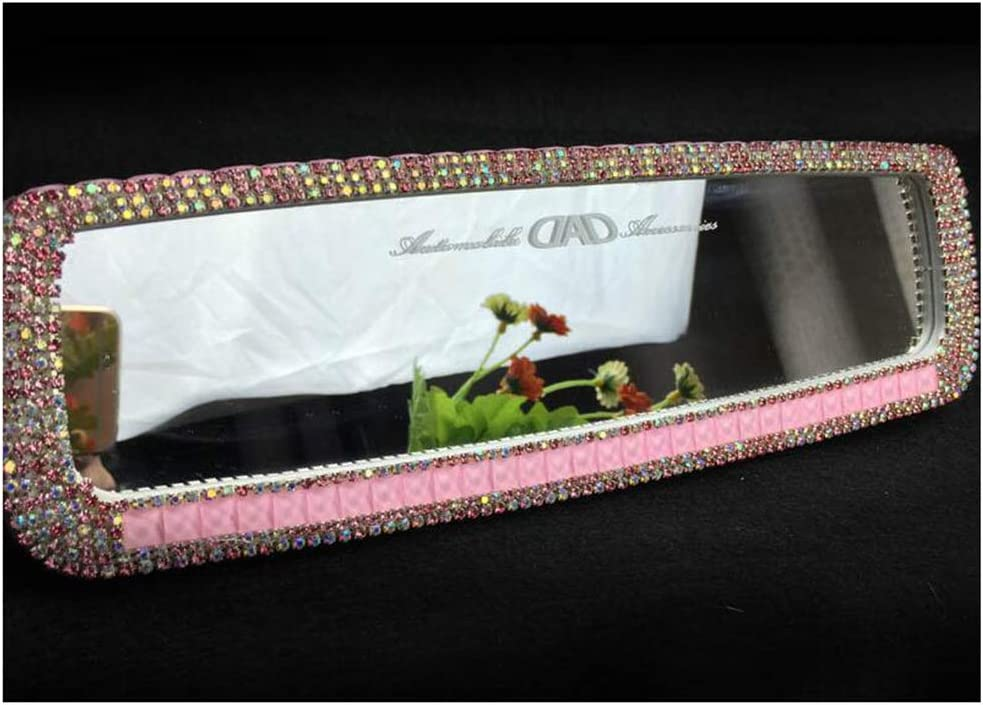 Siyibb Bling Rhinestones Car Rearview Mirror for Girls Auto Accessories Pink