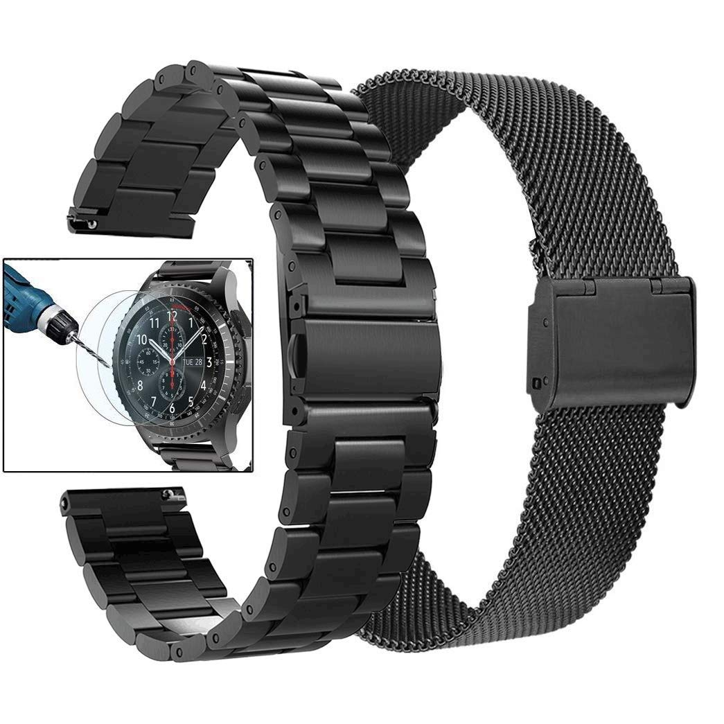 Valkit Compatible with Gear S3 Frontier Bands, 22mm Solid Stainless Steel Metal Watch Band Business Bracelet Strap+Screen Protector Replacement for Gear S3 Frontier/Classic/Galaxy Watch 46mm, Black by valkit