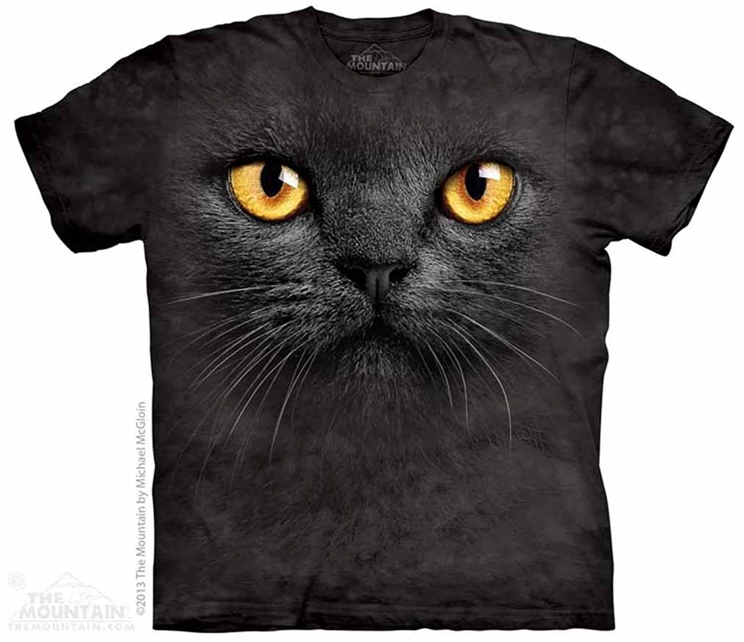 Amazon The Mountain Black Cat Face Adult T shirt Clothing