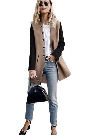 17c19afca4c5 Veste Patchwork Femme Mode Manteau Style Officier Coreen Trench Coat Long  Gilet Manche Longue Fille Cardigan