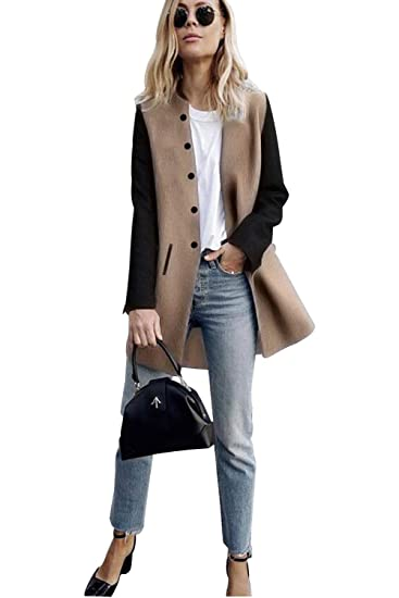 nouveau style e43a5 b4817 Veste Patchwork Femme Mode Manteau Style Officier Coreen Trench Coat Long  Gilet Manche Longue Fille Cardigan a Boutons Blazer col Montant Parka ...