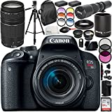 Canon EOS Rebel T7i DSLR Camera with 18-55mm Lens and 75-300mm f/4-5.6 III Lens 20PC Accessory Bundle - International Version (No Warranty)