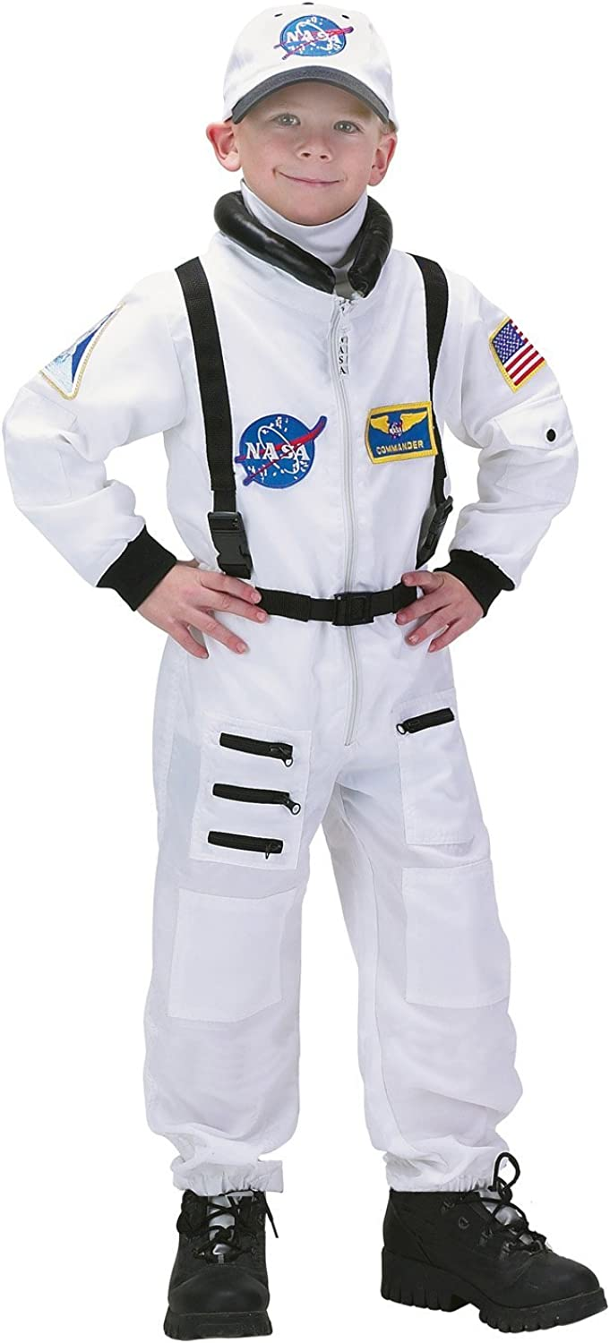 Aeromax Jr. Astronaut Suit with Embroidered Cap and NASA patches, WHITE, Size 12/14