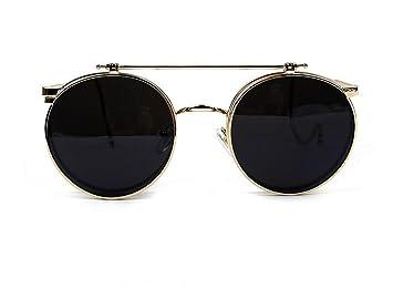 GSHGA Sonnenbrille Clamshell Retro Brille Sonnenbrille Hooked,Goldframegraylens
