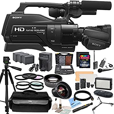 "Sony HXR-MC2500 Shoulder Mount AVCHD Camcorder With CS Reality TV Kit: Includes Wireless Lapel & Handheld Twin Microphone System, 72"" Professional Tripod With Tripod Dolly, Weather Proof Case, HD Wide Angle Lens, Telephoto HD Lens, 3 Piece Filter Kit (UV,"