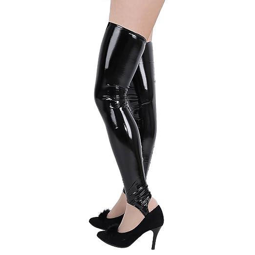 c6695f15863 MSemis Women Black Shiny Patent Leather PVC Thigh High Stirrup Tights  Stockings Black Small