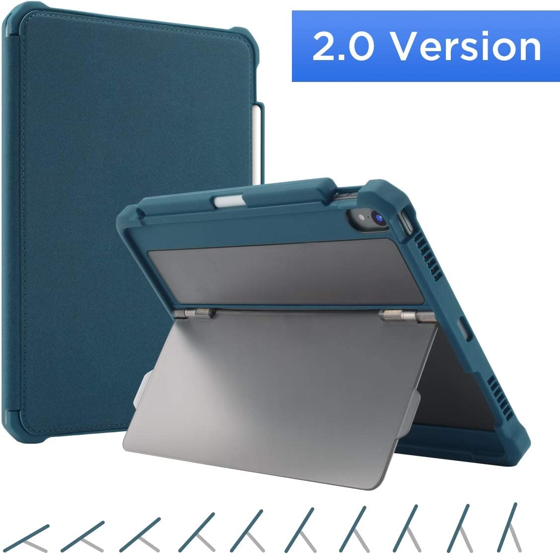 "Maxjoy Fit for iPad Pro 11 Case, iPad Pro 11 Cover, [Support Pencil Charging], Shockproof Rugged iPad 11 Protective Cover with Kickstand + Sleep/Wake + Apple Pencil Holder for iPad Pro 11"" 2018, Blue"