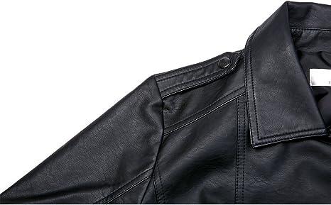 ajustada con cierre y hebilla estilo motero de piel aut/éntica Chaqueta corta para mujer color azul