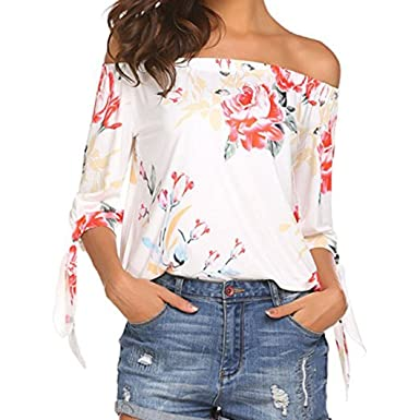 a347ef2daefd ALIKEEY Femmes Floral Imprimer Hors épaule T-Shirt Manches Courtes Casual  Tops Blouse T-
