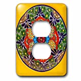 3dRose Danita Delimont - Artwork - Colorful handmade patterns of a Ceramic Plate, Guanajuato, Mexico - Light Switch Covers - 2 plug outlet cover (lsp_278313_6)
