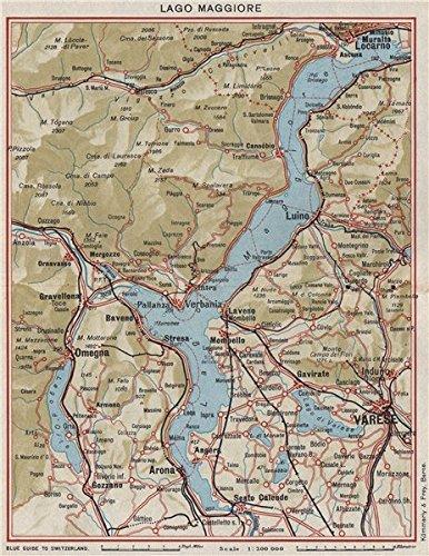 LAKE LAKE MAGGIORE. Varese Locarno Arona Omegna Luino. Vintage map ...