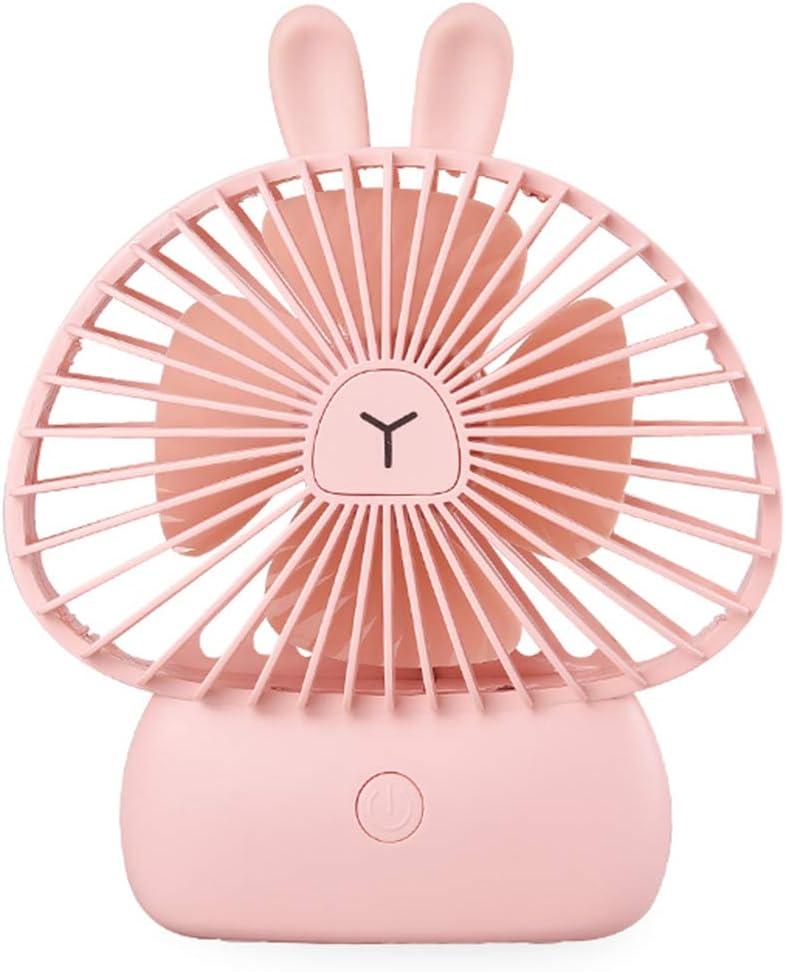 EKOHOME Mini Ventilador USB Silencio 4W Portátil Ventilador de Mesa Enfriamiento 3 Velocidades con 7 Colores Luz LED Lindo Conejo Ventilador para Niños Chicas Casa Oficina Colegio (Rosado)