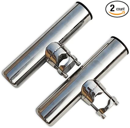 """2pcs Tournament Style Clamp on Fishing Rod Holder Stainless for Rail 1-1//4/""""to 2/"""""""