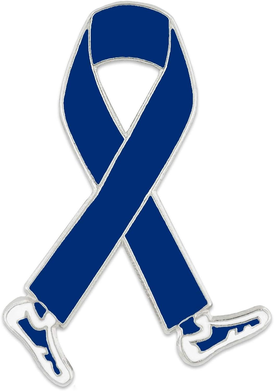 PinMart Blue Awareness Ribbon Walk Fundraiser Enamel Lapel Pin